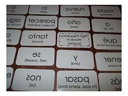 102 Spanish laminated high frequency sight word flash cards.