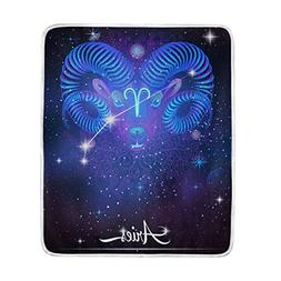 12 Constellation Zodiac Signs Aries Throw Blanket, Lightweig