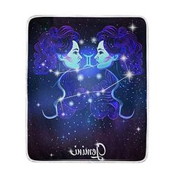 12 Constellation Zodiac Signs Gemini Throw Blanket, Lightwei