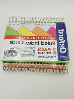 "2 Pack of Oxford Spiral Index Cards Neon Colors Glow 3"" x 5"""