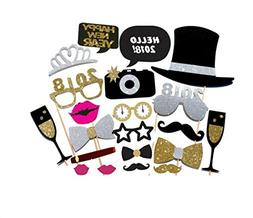 21PCS 2018 New Year's Eve Party Card Masks Photo Booth Props