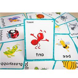 SANTSUN 14 Insects and Bugs Flashcards for Kindergarten Clas
