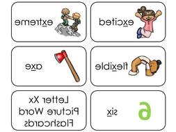 23 Letter X Sounds Picture and Word Phonics Flashcards. Pres