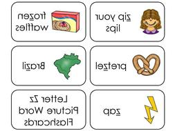 23 Letter Z Sounds Picture and Word Phonics Flashcards. Pres
