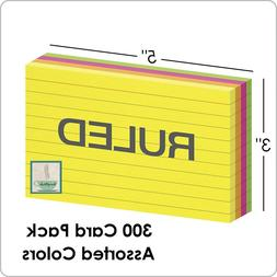 300 Ct Pack Oxford Neon Index Cards Ruled 3 x 5 Inch Assorte