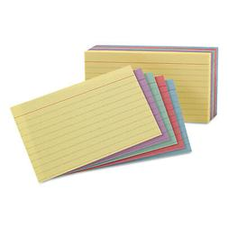Esselte 35810 Ruled Index Cards, 5 x 8, Blue/Violet/Canary/G