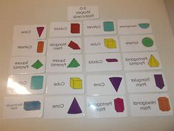 3d shapes flash cards preschool and pre