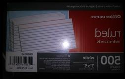 3x5 Inch ruled Index Cards-5 Packs. School or Office. Flash
