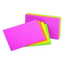 Universal 47257 Ruled Neon Glow Index Cards, 5 x 8, Assorted
