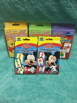 5 DISNEY LEARN FLASH CARDS Age 3+ Number Colors Shapes Micke