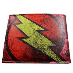 DC Comics  Flash Leather Bi-fold Men's/Boys Wallet with Gift