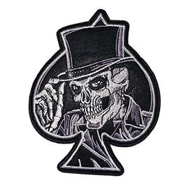 "ACE of SPADES with SKULL SKELETON & TOP HAT 4"" Black & White"