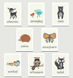 Nature Animals in Spanish Mini Collection Wall Card Prints,