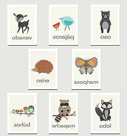Nature Animals in Spanish Mini Collection Wall Card Prints 0