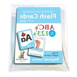 ASL Flash Cards - Learn Signs for ABC's and 123's - English,