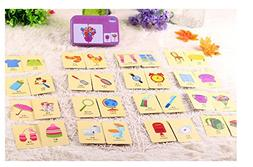 Baby Infant 32pcs Flash Card Jigsaw cognition Puzzle Shape Matching Puzzle Cognitive Learning Early Education Card Learning Toys in a Box