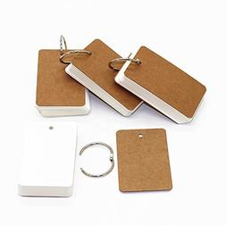 LONG TAO Pack of 4 Binder Ring Easy Flip Flash Cards Study C