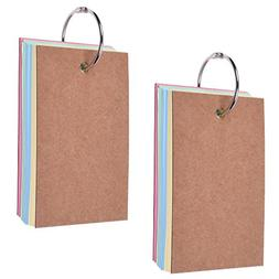 BCP Pack of 2 Binder Ring Easy Flip Flash Cards Study Cards,
