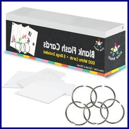 "Blank Flash Cards 5 Rings 1000 Index 2X3"" For School Supplie"