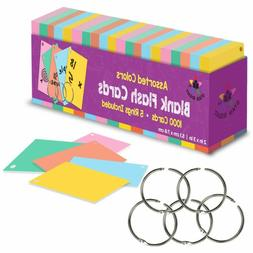Star Right Blank Flash Cards With Rings In Assorted Colors;