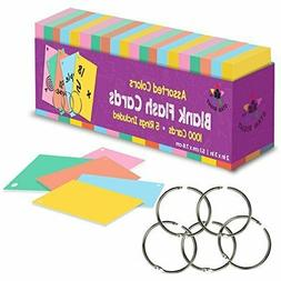 Blank Flash Cards with Rings in Assorted Colors; 1000 Index