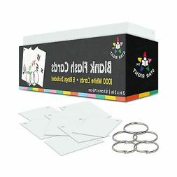 Star Right Blank Flashcards - White | 1000 Hole - Punched Ca