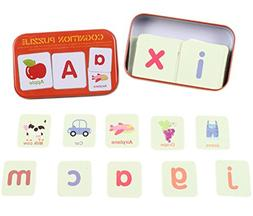 CC-US 56 PCS Anti-tear Flash Cards Alphabet Learning Jigsaw