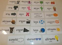 Colors in Spanish Flash Cards. Preschool Foreign Language Pi