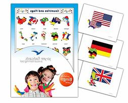 Country and Flags Flash Cards in English with Matching Bingo