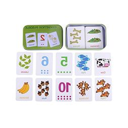 Zerodis Cute Cognition Puzzle Cards In Metal Storage Box,Num