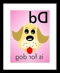 D is for Dog - Art Print Home Decor Wall Art -  Flashcard
