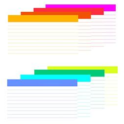 DEBRADALE DESIGNS 3 x 5 Inch - Eight  Unique Color Bar Ruled