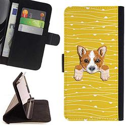 Embroidered Cute Dog Puppy Leather Wallet Case for Samsung