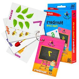 Star Right Numbers Flash Cards with Matching Art, 36 Cards,