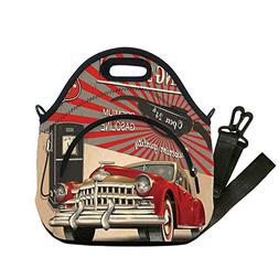 Insulated Lunch Bag,Neoprene Lunch Tote Bags,Cars,Poster Sty