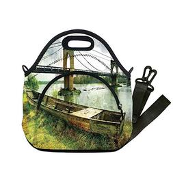 Insulated Lunch Bag,Neoprene Lunch Tote Bags,Landscape,Bridg