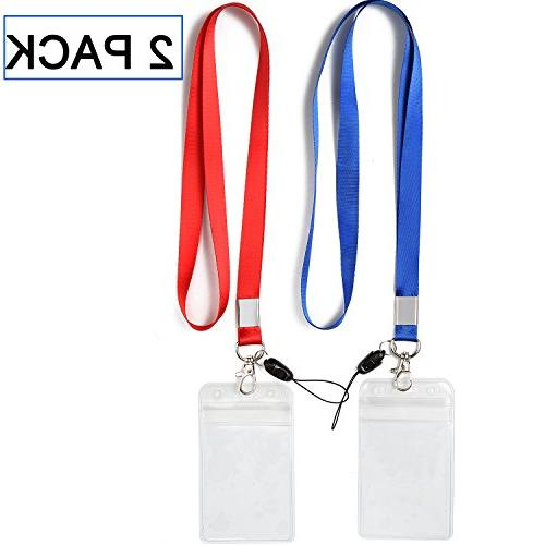8a67c3510108 2 Pack ID Badge Holders with Red Lanyards/Strap Colorful Neck Strings Blue  Lanyard with Vertical PVC Name Tag ID Cards Holder Punched Zipper ...