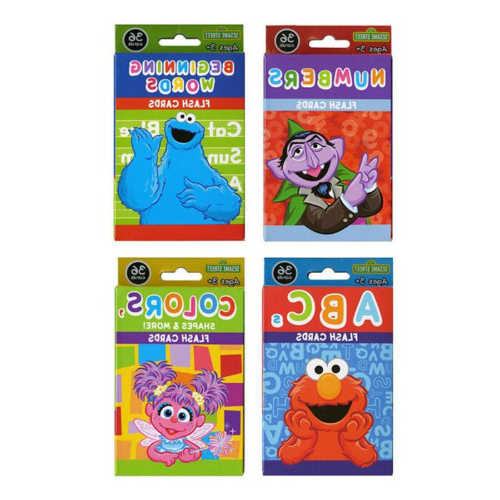 4 Pack Sesame Street Flash Cards Early Learning Colors Shape