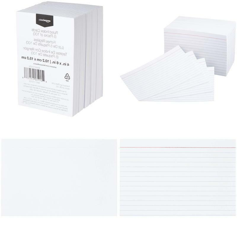 4 x 6 inch ruled white index