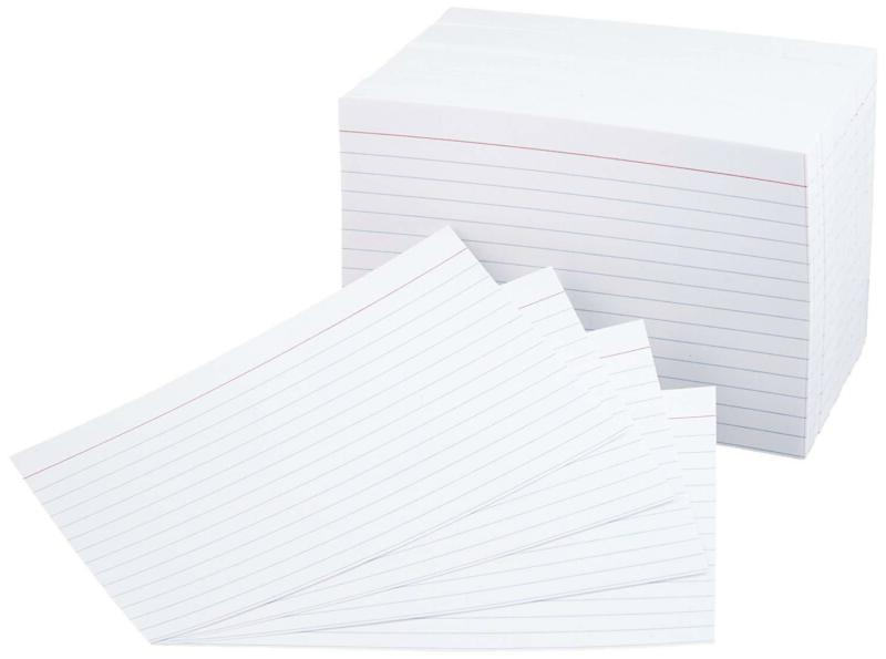 White Index Cards For Exam Lists