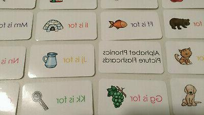 alphabet flash cards 26 colored cards total