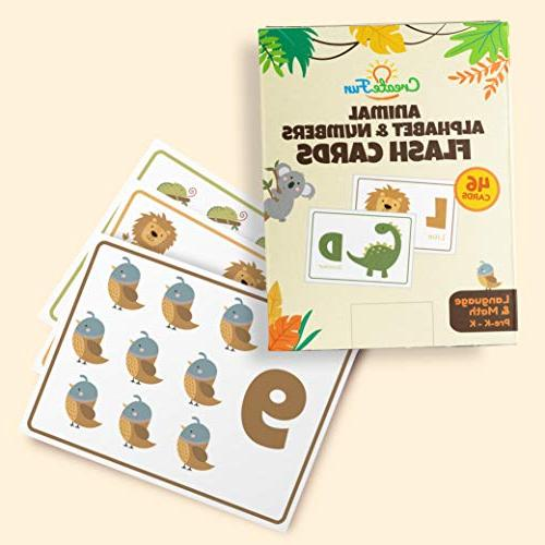 Animal and Flash Toddlers, Children Complete Alphabet in and Lowercase With Numbers For Toddler Learning | 46 Extra Thick
