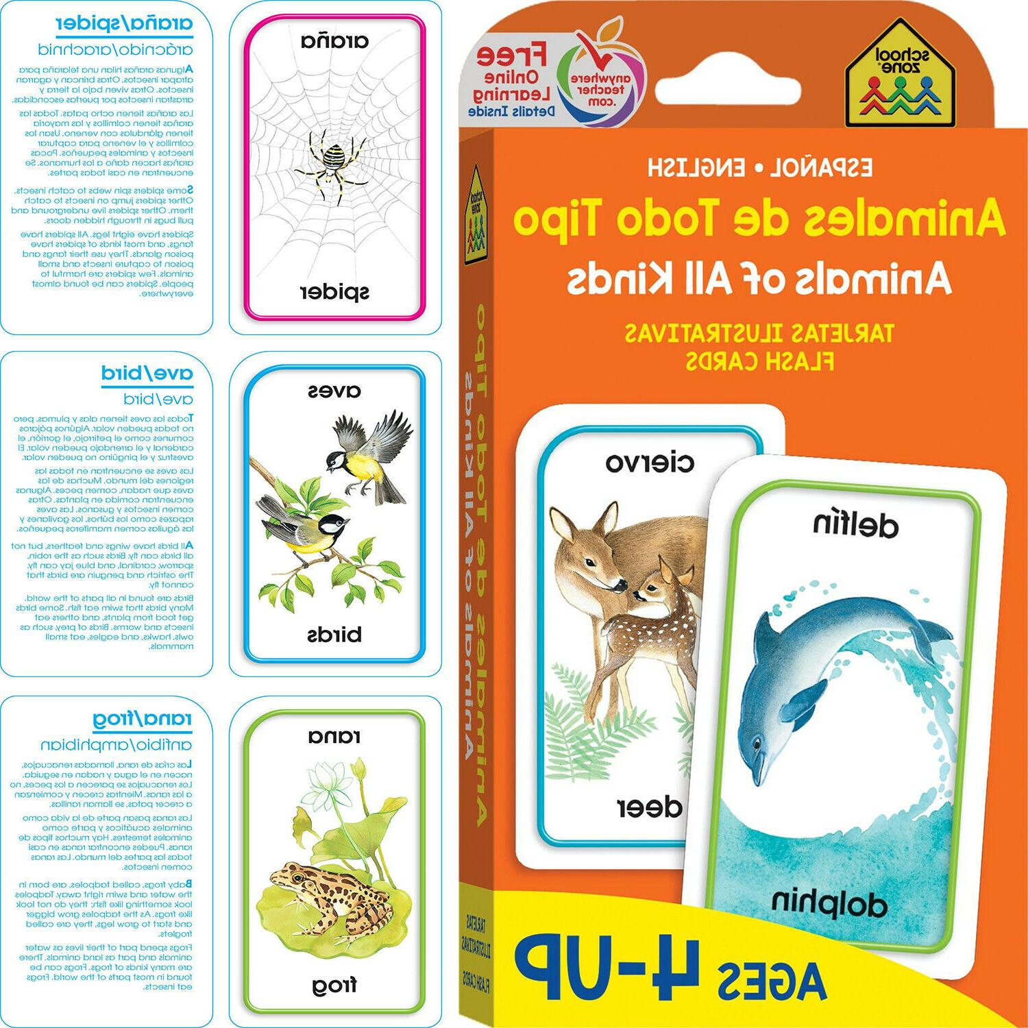 bilingual animals all kinds flash cards kids