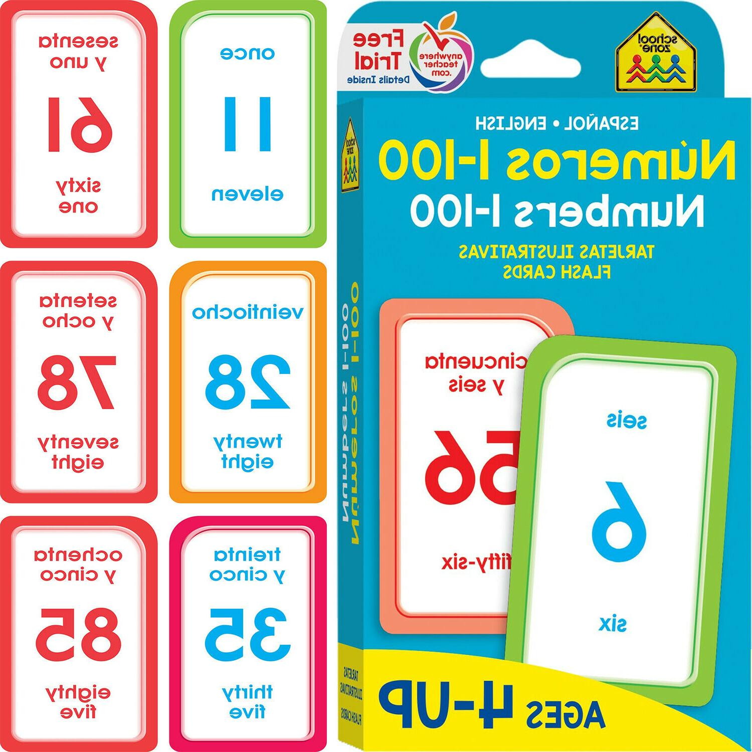 Bilingual 1-100 Cards Learning Kids Learn