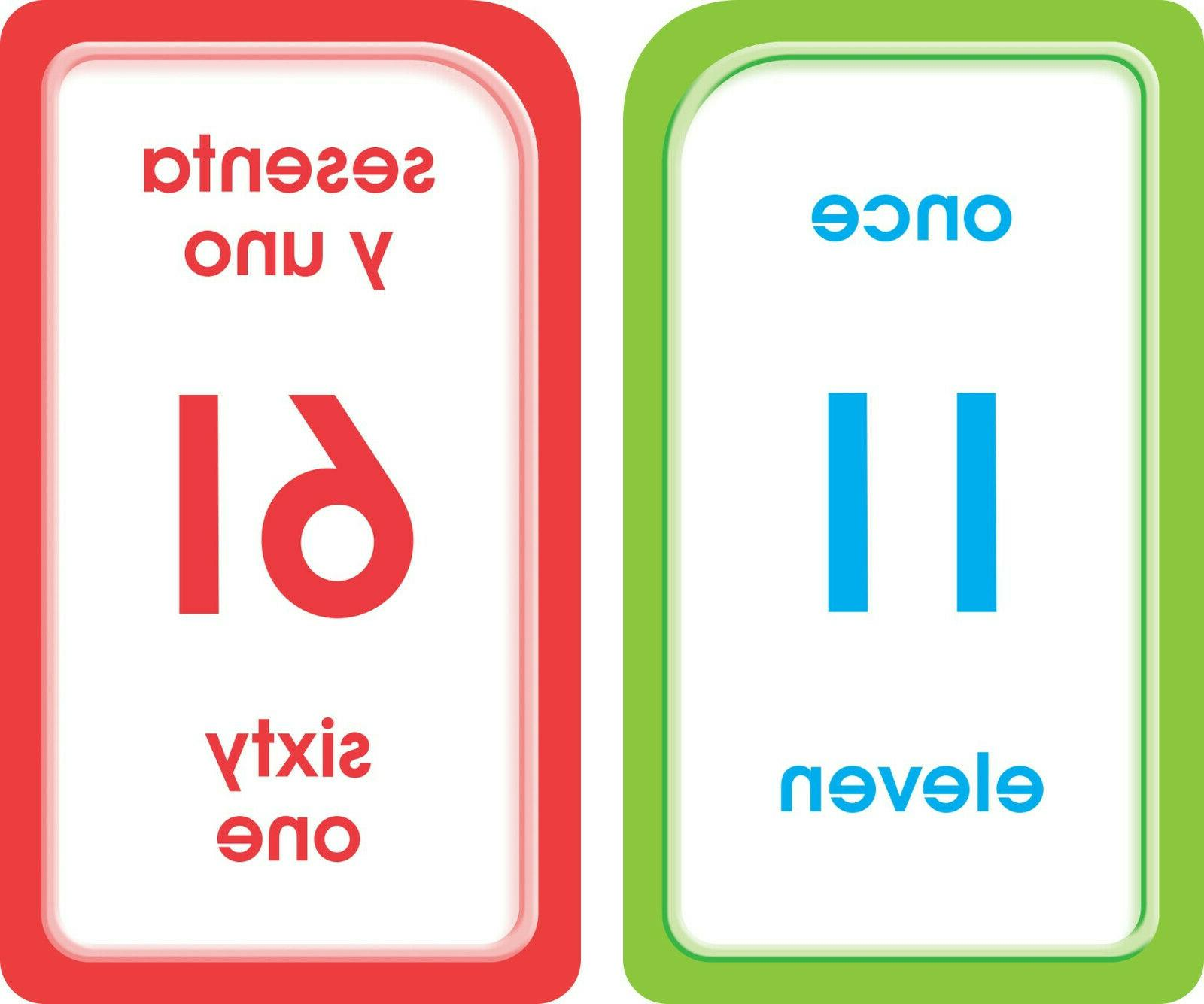 Bilingual Numbers Cards Learning Preschool Kids Math