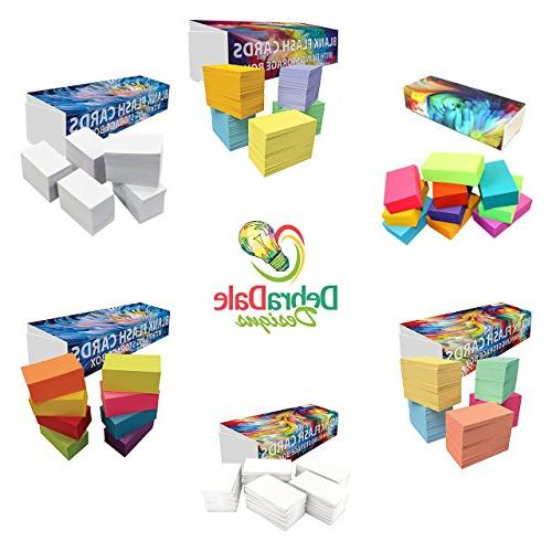 "DEBRADALE DESIGNS - Blank Flash Cards - 3-1/2"" - 5 Colors - Storage Dispenser Box With Attached Lid Closure Entirely"