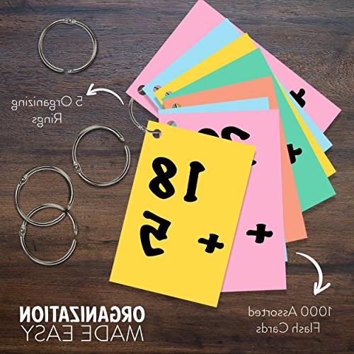 Cards in Assorted Colors; 1000 Cards - Hole Punched 2x3 inch Learning, and