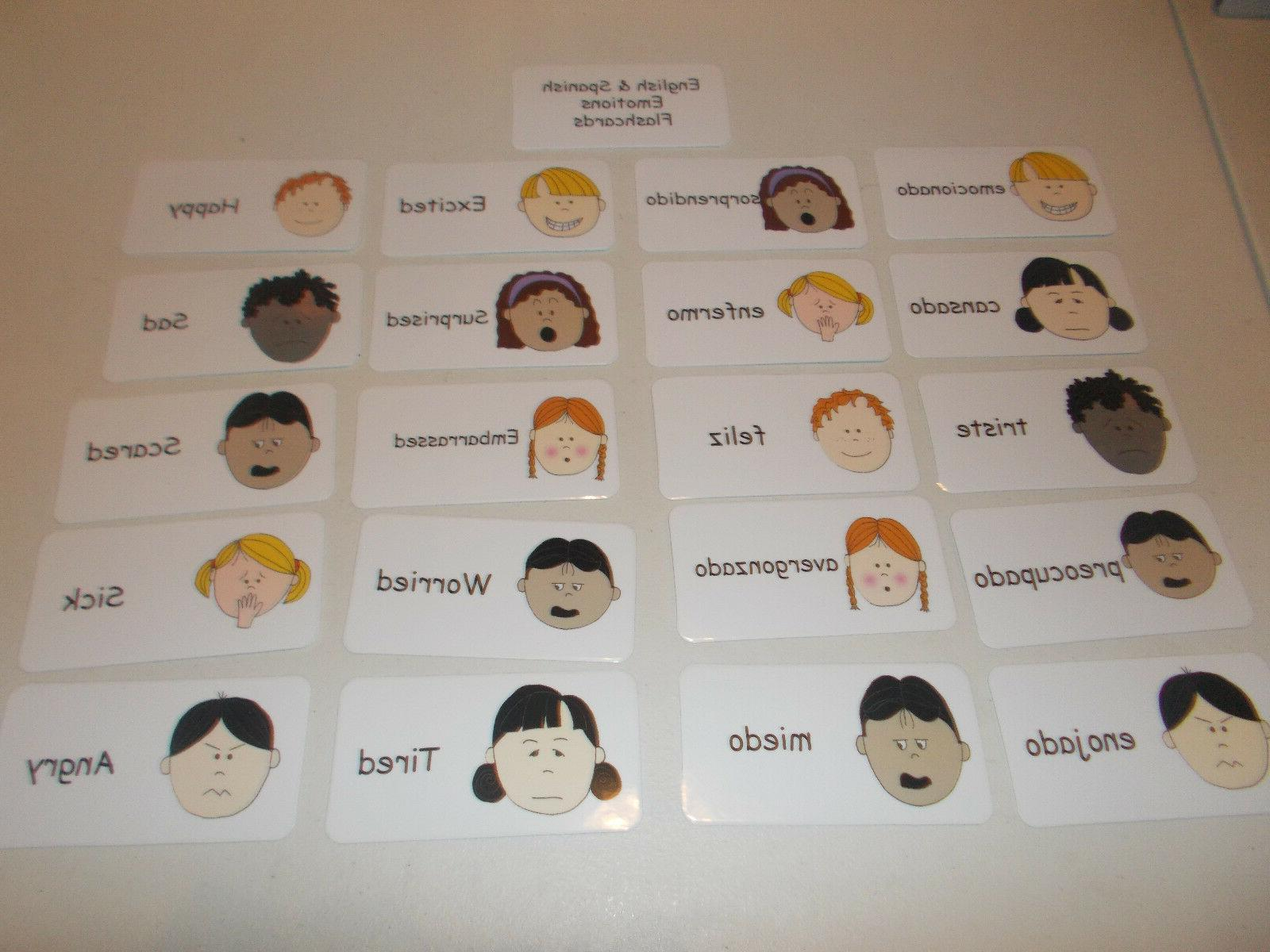 emotions flash cards in english and spanish