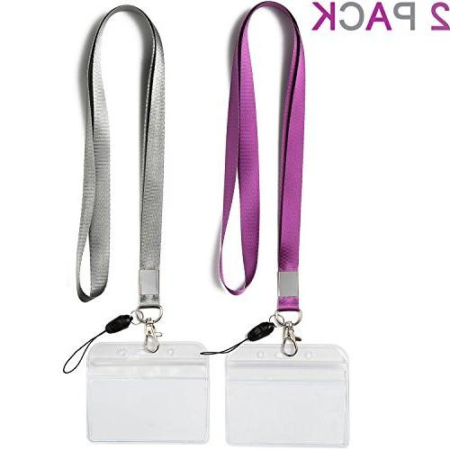 d820cfd9e5ad 2 Pack ID Badge Holders with Purple Lanyards
