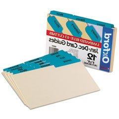 Laminated Tab Index Card Guides  Monthly  1/3 Tab  Manila  5